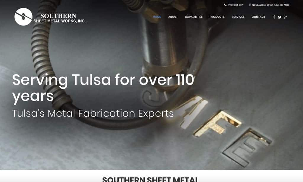 Southern sheet metal website design
