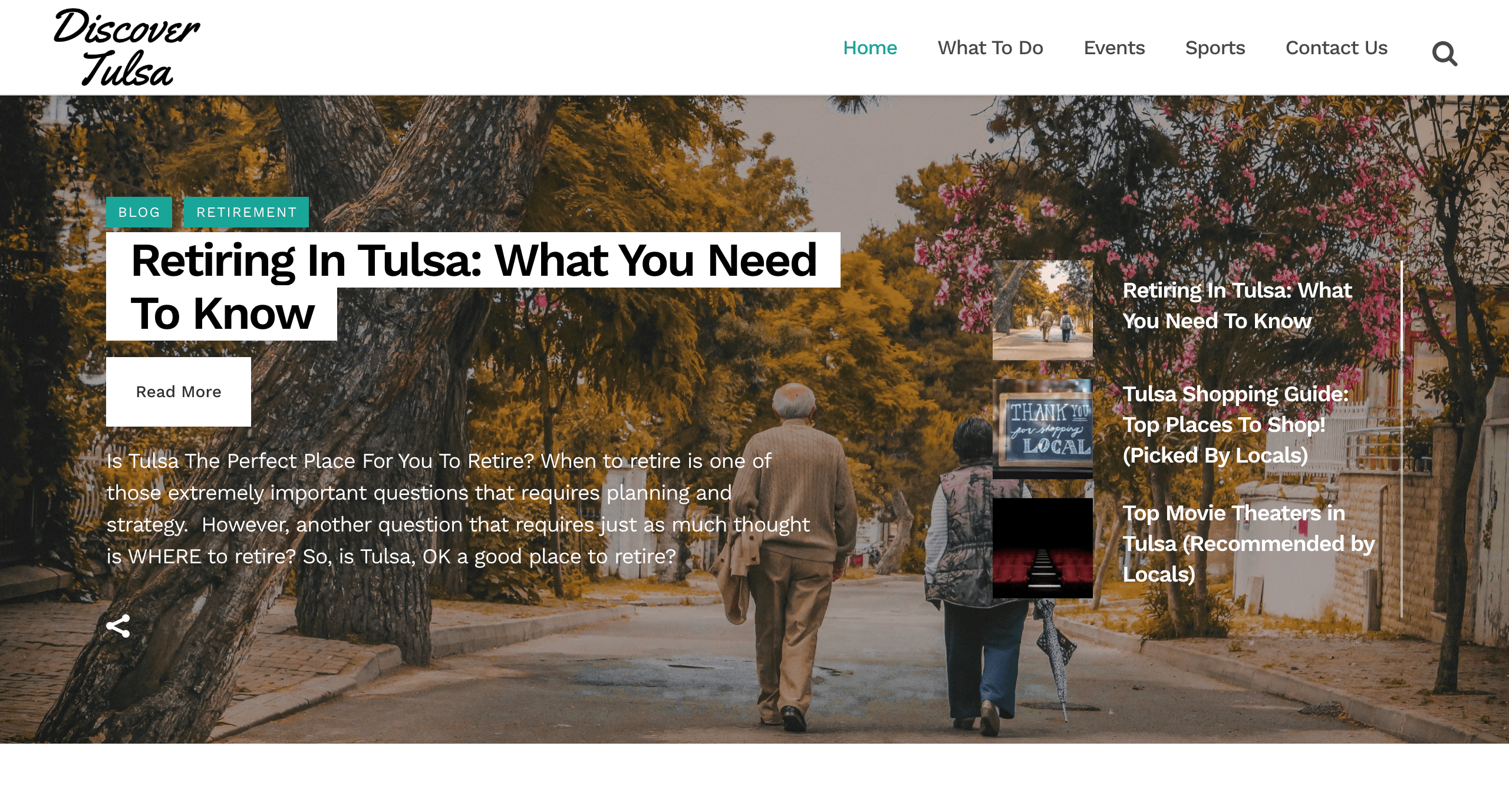 Discover Tulsa Website Homepage